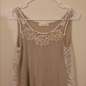 Tan tank with lace insets